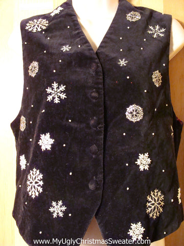 Tacky Ugly Velvety Christmas Vest with Snowflakes (f770)