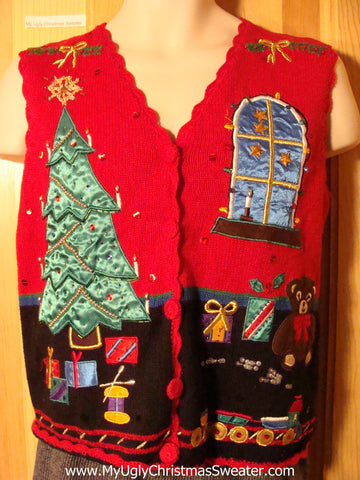 Tacky Ugly Christmas Sweater Vest with Shimmering Fabric Tree, Window and Gifts and Bling Accents (f771)