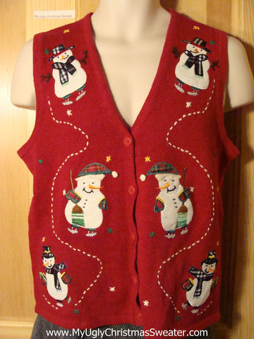 Tacky Ugly Christmas Sweater Vest with Six Skating Snowmen on the Front and One Melting Snowman on the Back (f772)