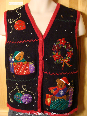 Tacky Ugly Christmas Sweater  Vest with Bling Gifts and Bears (f774)