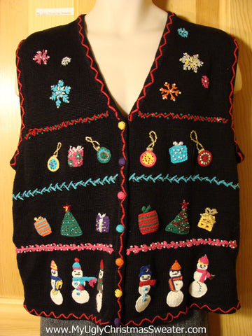 Tacky Ugly Christmas Sweater Vest with Bead Bling Gifts, Ornaments, and Snowmen  (f775)