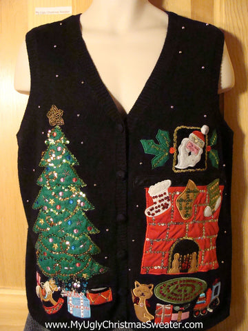 Crazy Cat Lady Alert! Cat Themed Tacky Ugly Christmas Sweater Vest with Tree and Fireplace Scene (f776)