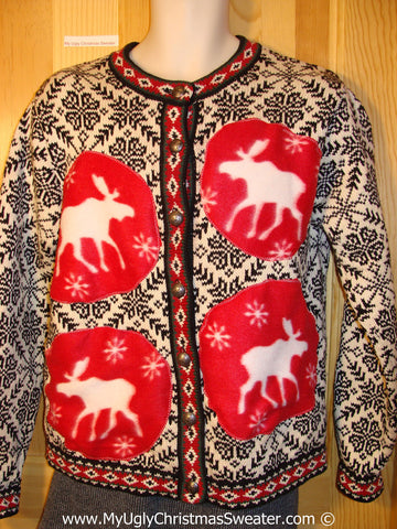 Tacky Ugly Christmas Sweater with Nordic Style and Four Festive Reindeer  Moose (f778)