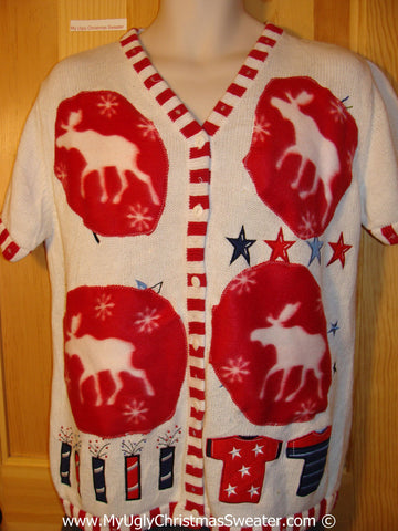 Upcycled Patriotic Short Sleeved Tacky Ugly Christmas Sweater with Reindeer Moose (f779)