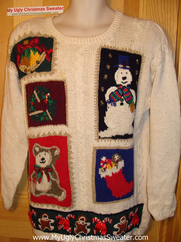 Tacky Ugly Christmas Sweater 80s Padded Shoulders Bear, Snowman, Stocking (f77)