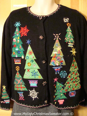 Tacky Ugly Christmas Sweater with Bright Bling Trees (f781)