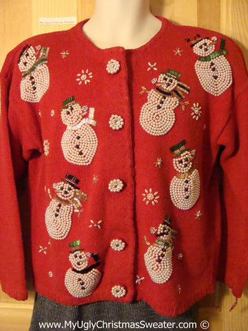 Tacky Red Ugly Christmas Sweater with Bling Bead Snowmen and Bling Buttons (f783)