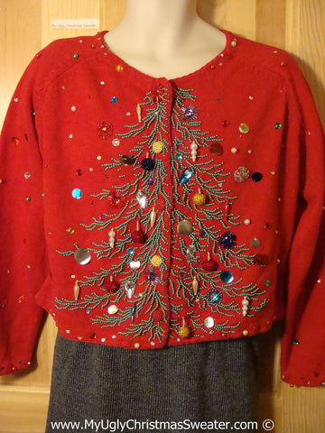 80s Classic Bling Tree Tacky Ugly Christmas Sweater (f785)