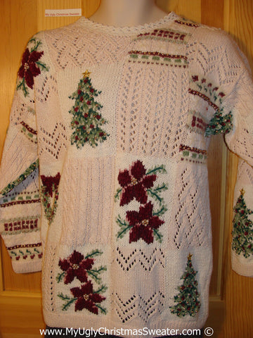 Tacky 80s Poinsettia and Tree Themed Ugly Christmas Sweater (f786)