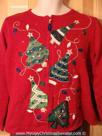 Tacky Ugly Christmas Sweater with Bling Trees all Topsy Turvey (f787)