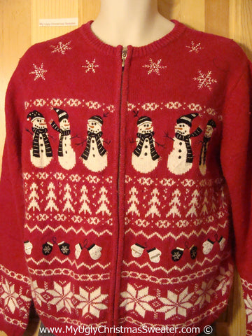 Tacky Ugly Christmas Sweater with Festive Geometric Stripes of Snowflakes, Mittens, and Snowmen  (f788)