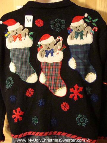Plaid Themed Tacky Ugly Christmas Sweater with Bears on the Back (f789)