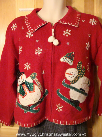 Tacky Ugly Christmas Sweater with Skiing Snowmen and Dangling Pom Pom Zipper Pull (f790)