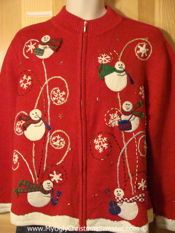 Flying Festive Snowmen Tacky Ugly Christmas Sweater (f791)