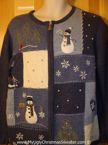 Tacky Ugly Christmas Sweater with Patch-work Grid of Snowmen, Trees, and Snowflakes (f792)