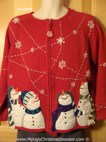 Tacky Ugly Christmas Sweater with Four Carrot Nosed Snowmen Looing up to the Snowy Sky  (f793)