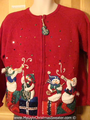 Tacky 80s Style Padded Shoulders Musical Themed Ugly Christmas Sweater with Snowmen Playing Bling Instraments (f795)