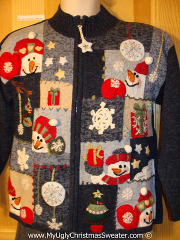 Tacky Patchwork Themed Ugly Christmas Sweater with Snowmen, Snowflakes, and Dangling Snowflake Zipper Pull (f796)