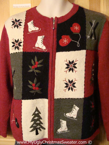 Tacky Patchwork Style Ice Skate Themed Ugly Christmas Sweater (f797)