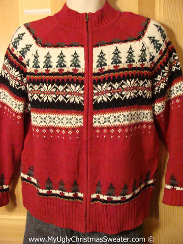 Tacky Nordic Themed Ugly Christmas Sweater with Festive Colorful Decorations on Front and Back (f798)
