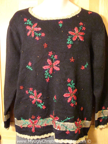 Tacky 80s Style Ugly Christmas Sweater with Bright Bling Poinsettias (f799)