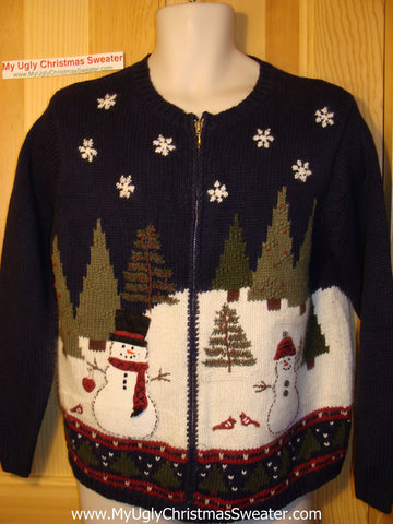 Tacky Ugly Christmas Sweater with Snowman in a Winter Wonderland. Two Sided Design   (f79)