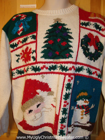 Tacky Christmas Sweater Party Ugly Sweater with 80s Style Grid Pattern of Horrid Decorations (f801)
