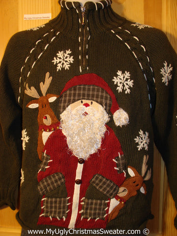 Tacky Christmas Sweater Party Ugly Sweater with Santa, Snowflakes, and Reindeer on Front and Back  (f802)