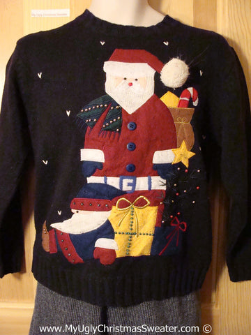 Tacky Christmas Sweater Party Ugly Sweater with Huge Santa (f803)