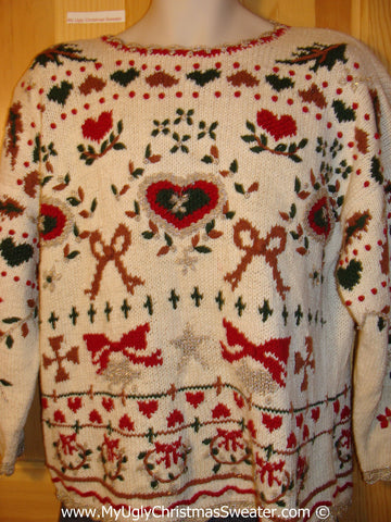 Tacky 80s Christmas Sweater Party Ugly Sweater with Padded Shoulders and Hearts and Bows on Front and Back  (f804)