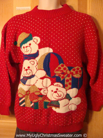 Tacky 80s Christmas Sweater Party Ugly Sweater with Teddy Bears (f807)