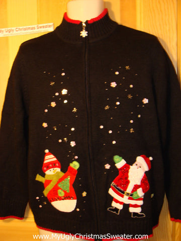 Tacky Ugly Christmas Sweater Bling Sequins, Santa, and Snowman (f80)