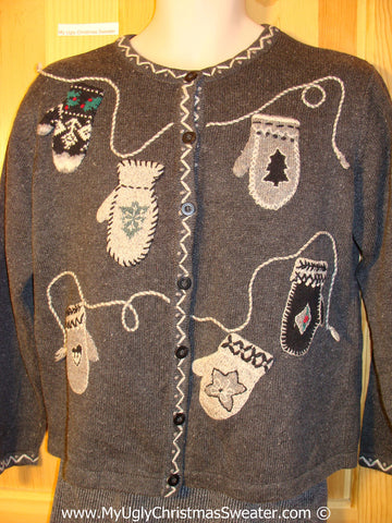 Tacky Christmas Sweater Party Ugly Sweater with Clotheslines of Mittens (f811)