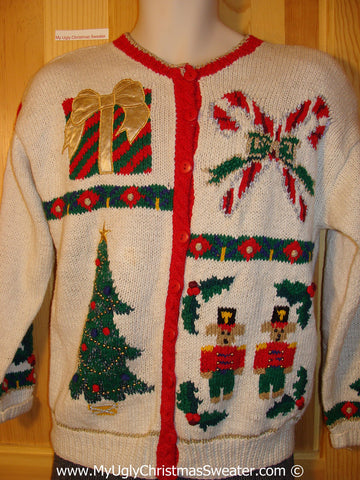 Tacky 80s Christmas Sweater Party Ugly Sweater with Padded Shoulders. Nutcrackers, Tree, Candycane and Gift (f812)