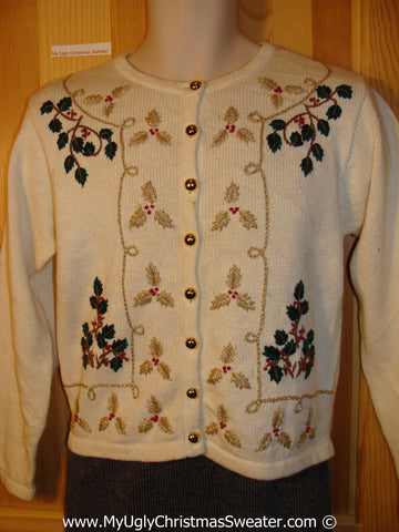 Tacky Christmas Sweater Party Ugly Sweater with Bling Gold Embroidered Ivy (f813)