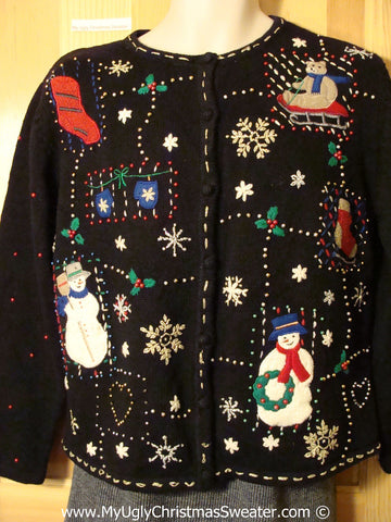 Tacky Christmas Sweater Party Ugly Sweater with Bling Beads and a Maze of Snowmen and Snowflakes (f814)