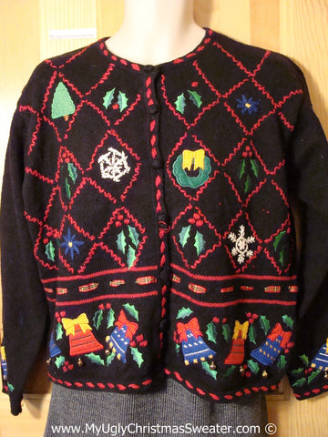 Tacky Christmas Sweater Party Ugly Sweater with Red Diagonal Grid of Festive Fun  (f815)