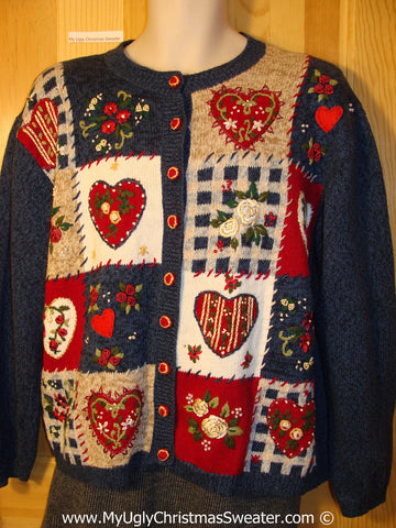 Tacky Christmas Sweater Party Ugly Sweater with Crafty Looking Plaid Hearts (f816)