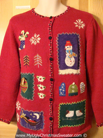 Tacky Christmas Sweater Party Ugly Sweater with Patchwork Theme Snowman, Ornament, and Ice Skates (f817)