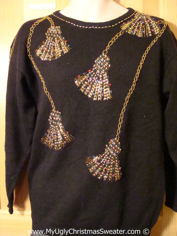 Tacky 80s Christmas Sweater Party Ugly Sweater with Maximum Bling (f823)
