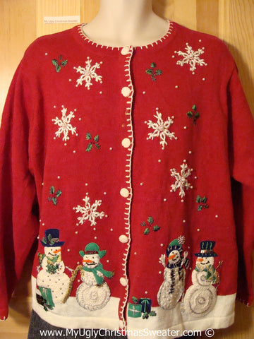 Tacky Christmas Sweater Party Ugly Sweater with Snowmen in a Winter Wonderland (f824)