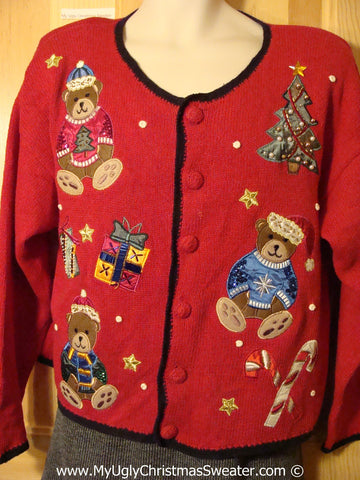 Tacky Christmas Sweater Party Ugly Sweater with 80s Style Padded Shoulders and Festive Bears (f825)