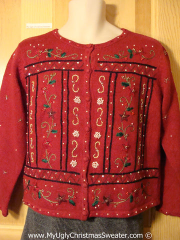 Tacky Christmas Sweater Party Ugly Sweater with Bling and Red Poinsettias (f827)