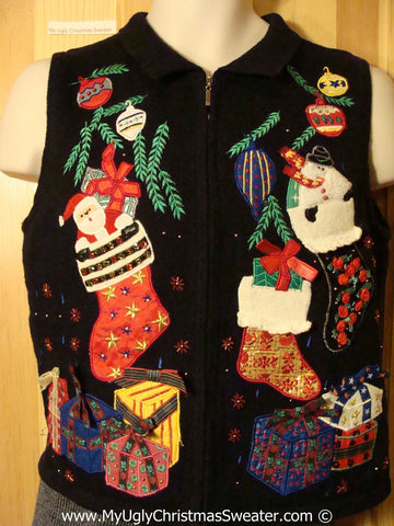 Tacky Christmas Sweater Party Ugly Sweater Vest with Vibrant Festive Santa and Stockings and Gifts (f829)