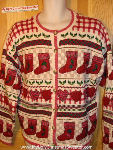 Tacky Ugly Christmas Sweater with Crafty Stocking Parade (f82)