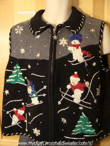 Tacky Christmas Sweater Party Ugly Sweater Vest with Skiing Snowmen in a Winter Wonderland (f830)