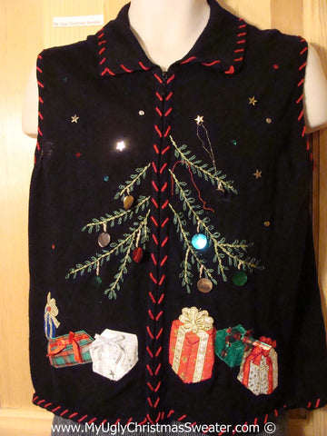 Tacky Christmas Sweater Party Ugly Sweater Vest wit Tree and Gifts and Bright Bling (f831)