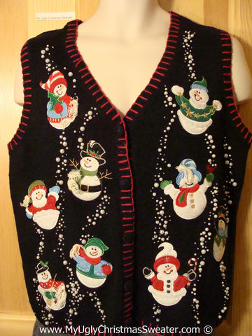 Tacky Christmas Sweater Party Ugly Sweater Vest with Carrot Nosed Snowmen  (f834)