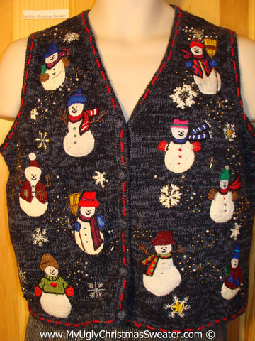 Tacky Christmas Sweater Party Ugly Sweater Vest with Plump Happy Festive Snowmen  (f835)