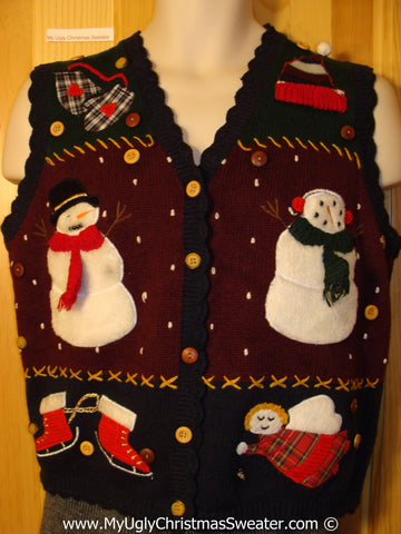 Tacky Christmas Sweater Party Ugly Sweater Vest with Two Huge Snowmen with Fluffy Scarfs (f836)